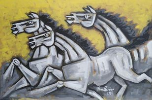 Horses 2 by Balbir Singh, Expressionism Painting, Acrylic on Canvas, Gray color