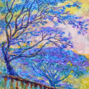 Temple Garden by Usha Shantharam, Impressionism Painting, Acrylic on Canvas, Blue color