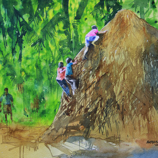 Naughty Days by Mopasang Valath, Impressionism Painting, Watercolor on Paper, Green color