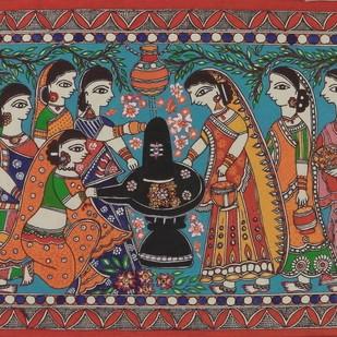 Solah Somvari by Abha Jha, Folk Painting, Pen, pencil, watercolour on paper, Brown color