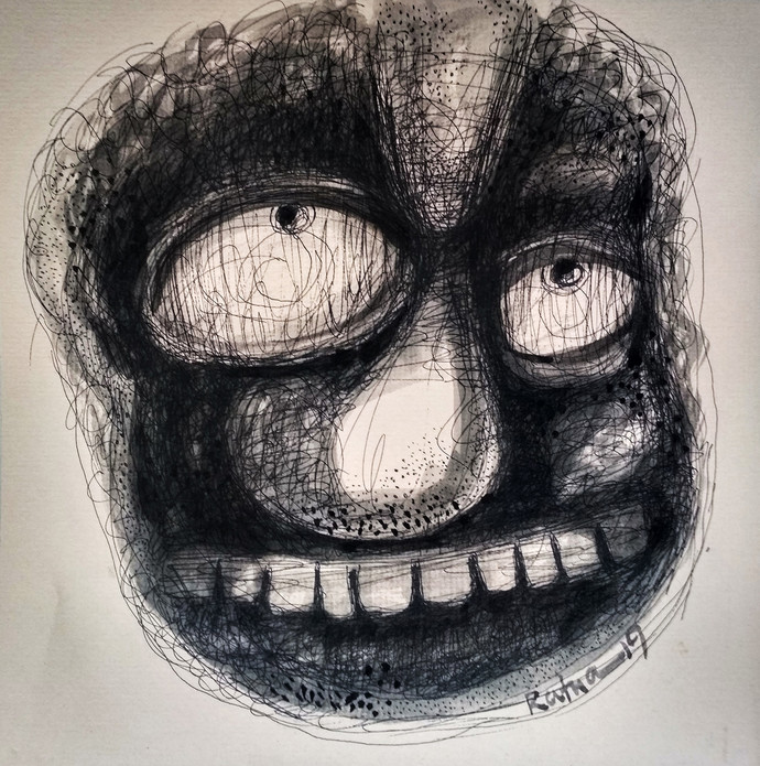 Cruelty by Ratna Bose, Expressionism Painting, Ink on Board, Gray color
