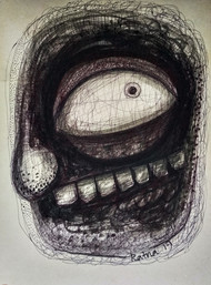 Cruelty II by Ratna Bose, Expressionism Painting, Ink on Board, Gray color