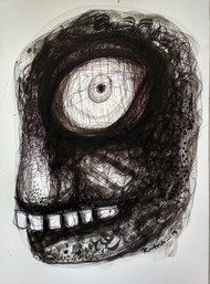 Cruelty - III by Ratna Bose, Expressionism Painting, Ink on Board, Gray color