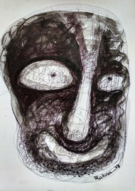 Cruelty - IV by Ratna Bose, Expressionism Painting, Ink on Board, Gray color