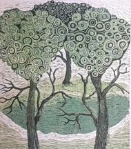 You and me by Subhamita Sarker, Expressionism Printmaking, Wood Cut on Paper, Gray color