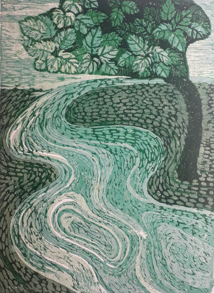 Journey through the dream -1 by Subhamita Sarker, Expressionism Printmaking, Wood Cut on Paper, Green color