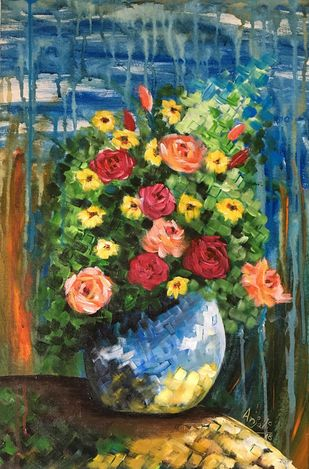 Bouquet Digital Print by Anjali,Expressionism