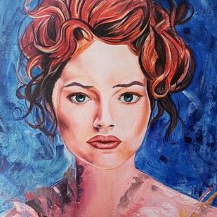 Bold beauty by Samta, Expressionism Painting, Oil & Acrylic on Board, Blue color