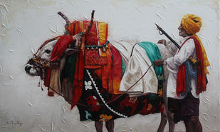 Gangireddu-06 by Iruvan Karunakaran, Expressionism Painting, Acrylic on Canvas, Gray color