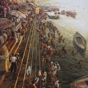 Varanasi-02 by Iruvan Karunakaran, Expressionism Painting, Acrylic on Canvas, Brown color