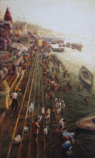 Varanasi-02 by Iruvan Karunakaran, Expressionism Painting, Acrylic on Canvas, Brown color