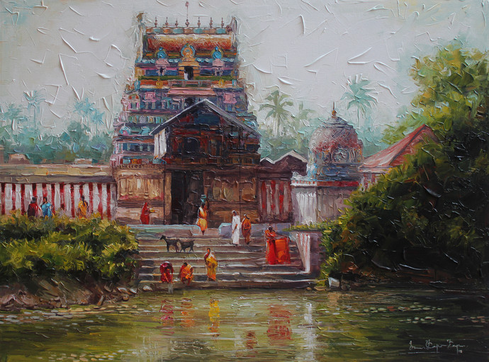 Village Temple by Iruvan Karunakaran, Expressionism Painting, Acrylic on Canvas, Gray color