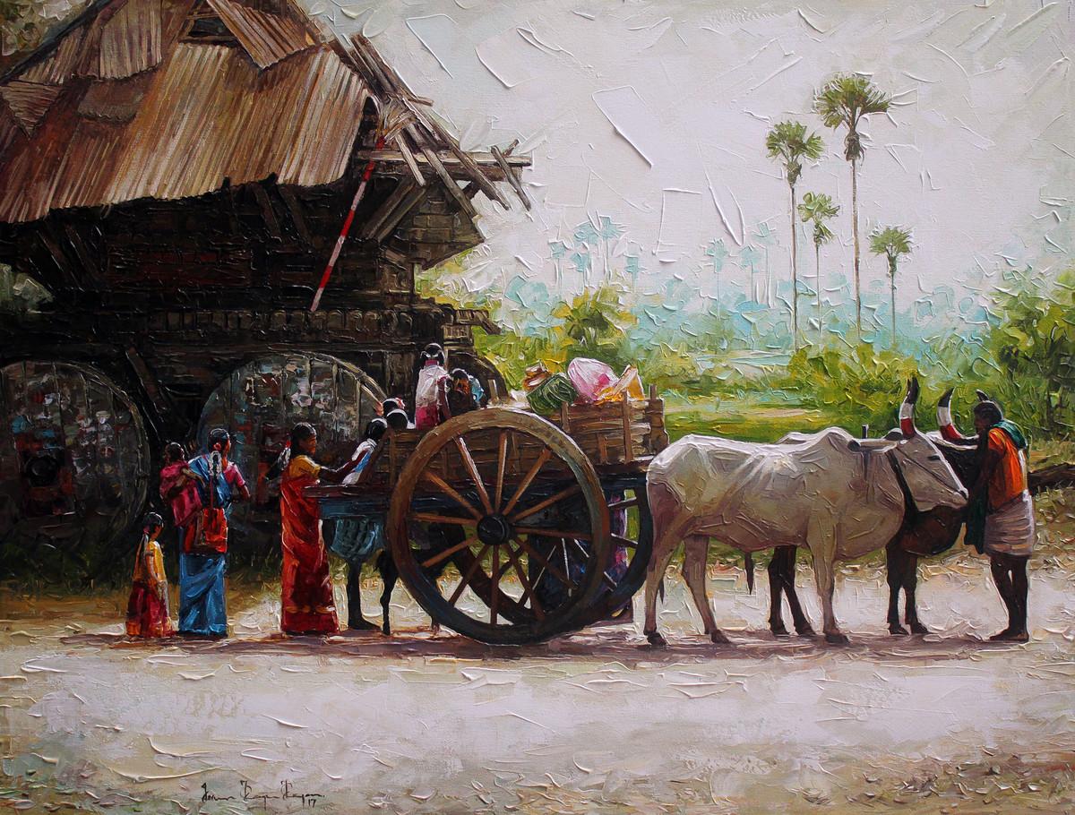 bullock cart by Iruvan Karunakaran, Expressionism Painting, Acrylic on Canvas, Brown color