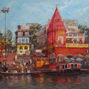 Varanasi_02 by Iruvan Karunakaran, Expressionism Painting, Acrylic on Canvas, Brown color