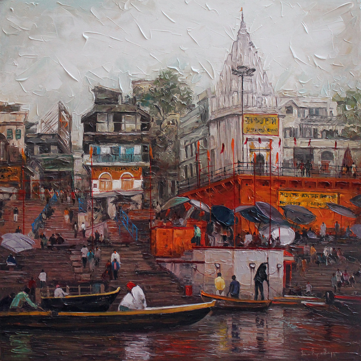 Varanasi_03 by Iruvan Karunakaran, Expressionism Painting, Acrylic on Canvas, Brown color