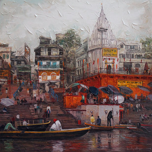 Varanasi_03 by Iruvan Karunakaran, Expressionism Painting, Acrylic on Canvas, Brown color