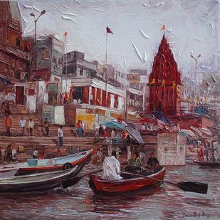 Varanasi_04 by Iruvan Karunakaran, Expressionism Painting, Acrylic on Canvas, Brown color