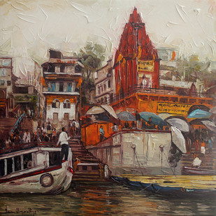 Varanasi_05 by Iruvan Karunakaran, Expressionism Painting, Acrylic on Canvas, Brown color