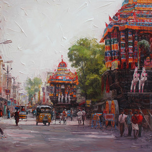 Madurai Street by Iruvan Karunakaran, Expressionism Painting, Acrylic on Canvas, Brown color