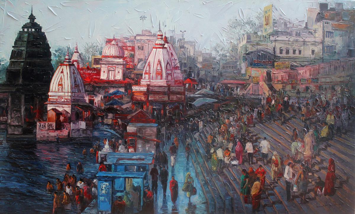 Haridwar by Iruvan Karunakaran, Expressionism Painting, Acrylic on Canvas, Brown color