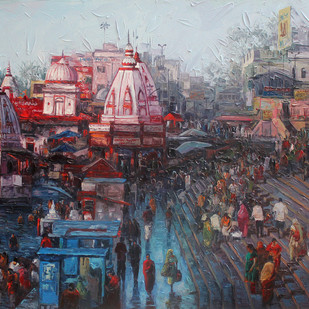 Haridwar by Iruvan Karunakaran, Expressionism Painting, Acrylic on Canvas, Brown color