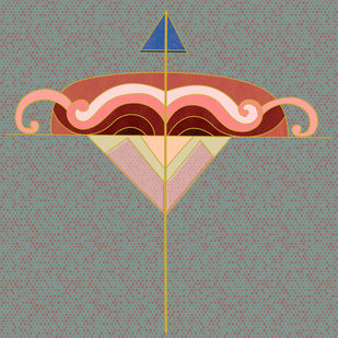Arrow 09 by KS Guruprasad, Geometrical Digital Art, Digital Print on Archival Paper, Gray color