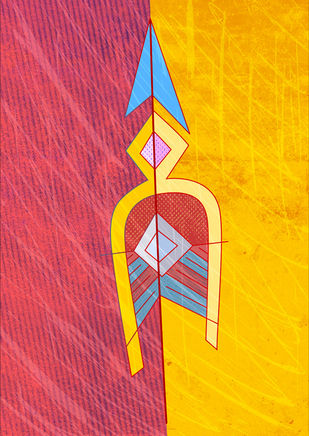 Arrow 10 by KS Guruprasad, Conceptual Digital Art, Digital Print on Archival Paper, Pink color
