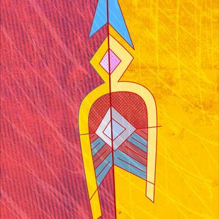 Arrow 10 by KS Guruprasad, Conceptual Digital Art, Digital Print on Archival Paper, Pink color