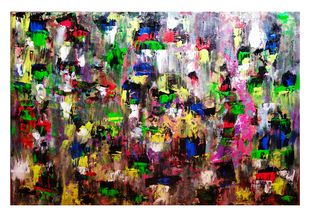Bright night by Raushan Kumar, Abstract Painting, Acrylic on Canvas, Brown color