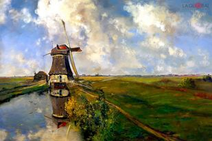 Windmill by the countryside Digital Print by The Print Studio,Digital