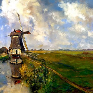 Windmill by the countryside by The Print Studio, Digital Painting, Digital Print on Canvas,