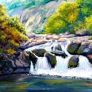 Rocky Waterfall Digital Print by The Print Studio,Digital