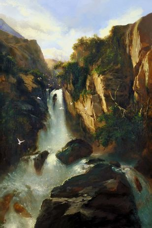 Majestic Waterfall Digital Print by The Print Studio,Digital