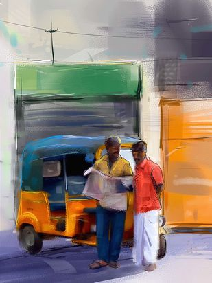 Auto by the street Digital Print by The Print Studio,Digital