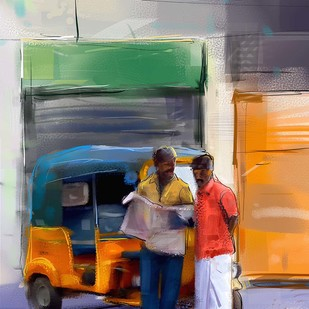 Auto by the street by The Print Studio, Digital Painting, Digital Print on Canvas, Brown color