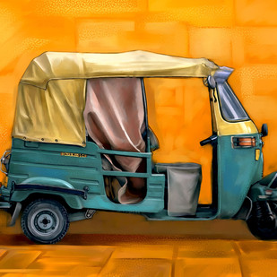 Yellow Auto by The Print Studio, Digital Painting, Digital Print on Canvas, Orange color