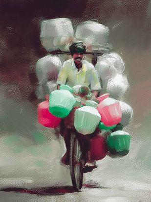 Seller on Cycle Digital Print by The Print Studio,Digital