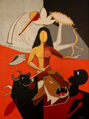 Rudrani 4 by Pratap SJB Rana, Expressionism Painting, Acrylic on Canvas, Brown color