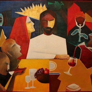 The Wedding Feast by Pratap SJB Rana, Expressionism Painting, Acrylic on Canvas, Brown color