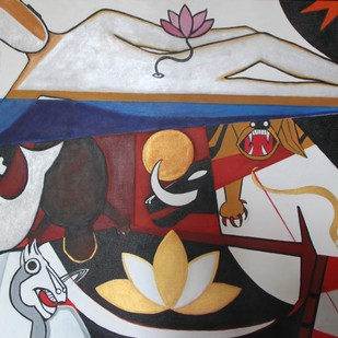 Dashavatara 2 by Pratap SJB Rana, Expressionism Painting, Acrylic on Canvas, Brown color