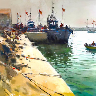 Harbour by The Print Studio, Digital Painting, Digital Print on Canvas, Beige color