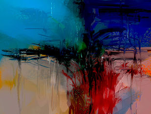 Abstract Blue Landscape Digital Print by The Print Studio,Abstract