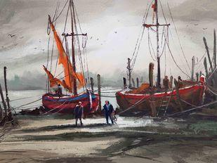Red Sails Digital Print by The Print Studio,Digital