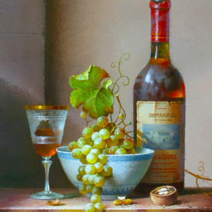 Still Life - Wine Bottle and Grapes Digital Print by The Print Studio,Digital