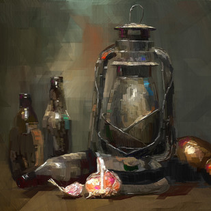 Still Life - Memories- 22 by The Print Studio, Digital Painting, Digital Print on Canvas, Brown color
