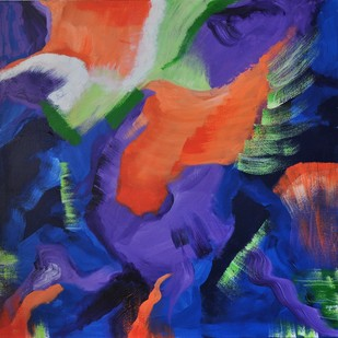 Bold and Colorful by Mehernosh Venkatraman, Abstract Painting, Acrylic on Canvas, Blue color