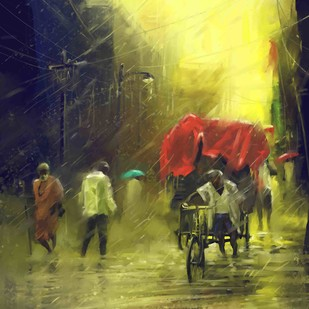 On a Rainy Day by The Print Studio, Digital Painting, Digital Print on Canvas, Green color
