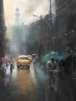 Yellow Taxi in the Street Digital Print by The Print Studio,Digital
