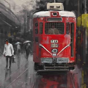 Red Tram Digital Print by The Print Studio,Expressionism