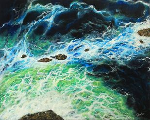 Intrigue by Shveta Saxena, Expressionism Painting, Acrylic on Canvas, Green color